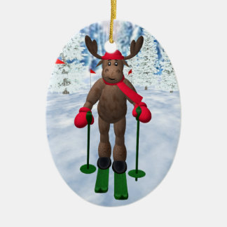 Cross-Country Skiing Whimsical Reindeer Christmas Ornament