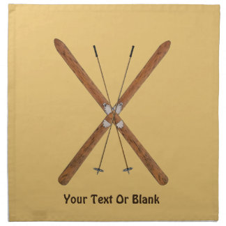 Cross-Country Skis And Poles Napkin