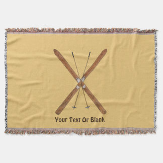 Cross-Country Skis And Poles Throw Blanket