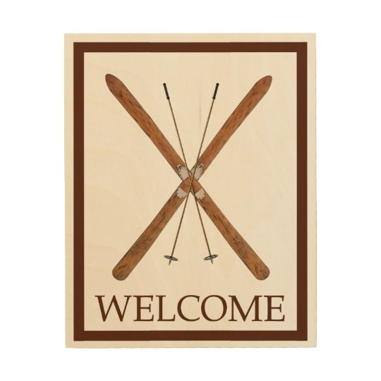 Cross-Country Skis And Poles - Welcome Wood Wall