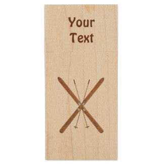 Cross-Country Skis And Poles Wood USB Flash Drive