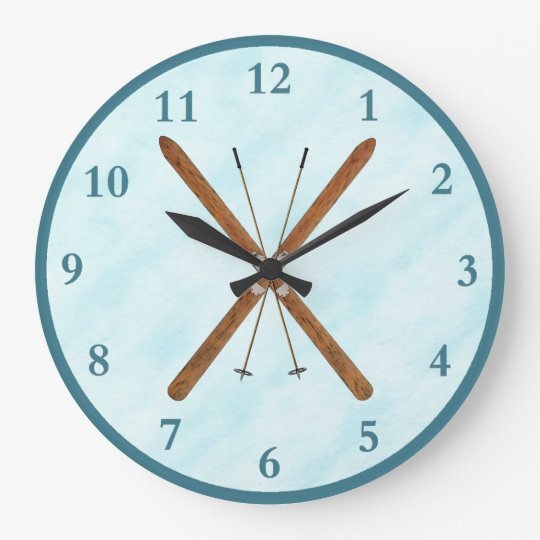 Cross-Country Skis On Snow Large Clock