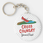 Cross Country - XC Running Shoe Basic Round Button Key Ring