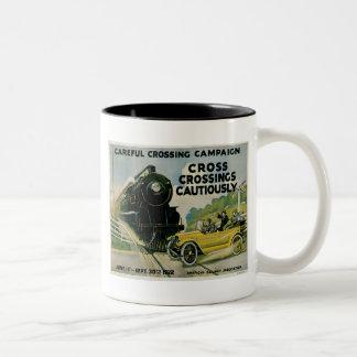 Cross Crossing Cautiously Careful Crossing Campaig Mugs