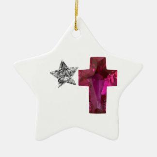 Cross Cut Red Sapphire Christian Design Ornament