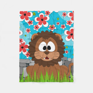 Cross-eyed, Happy Lion in Spring Fleece Blanket