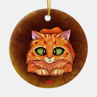 Cross Eyed Pretty Kitty Ornament Round