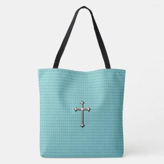 Cross_Faith _Silver (c) Sweet-Blue-*_Multi-Styles Tote Bag