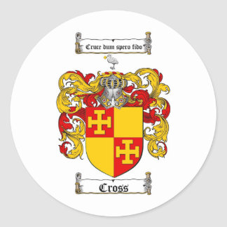 CROSS FAMILY CREST -  CROSS COAT OF ARMS ROUND STICKER