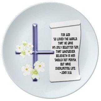 Cross Flower John 3:16 Plate