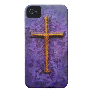 Cross-Gold on Purple iPhone 4 Case-Mate Case