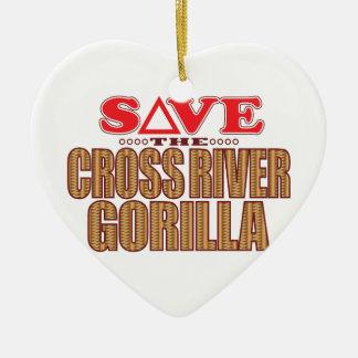Cross Gorilla Save Ceramic Heart Decoration
