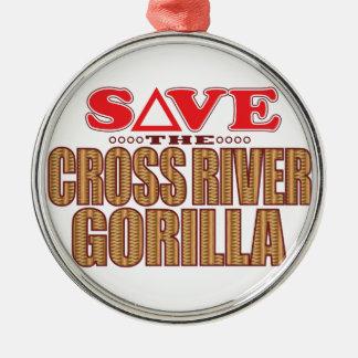 Cross Gorilla Save Silver-Colored Round Decoration