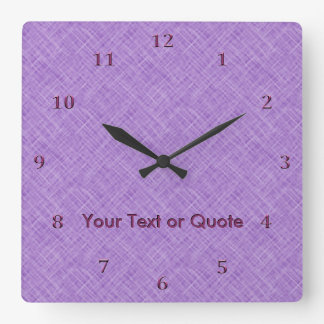 Cross Hatch in Purple Orchid Customize Mauve Name Wall Clocks