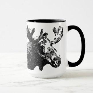 Cross-hatched Moose Mug