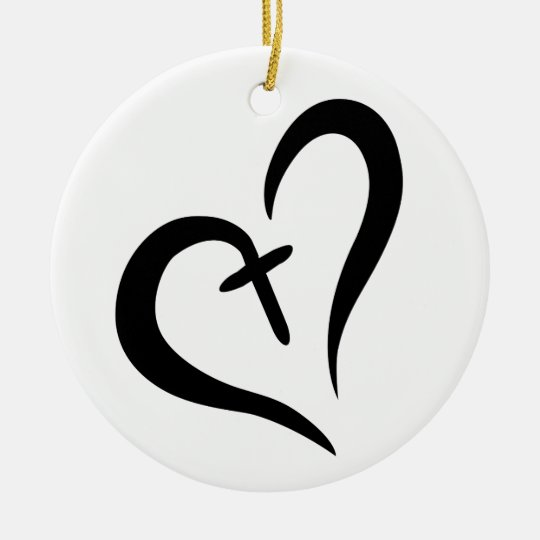 CROSS HEART CHRISTMAS ORNAMENT