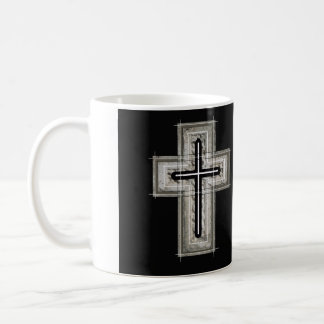 Cross in black and white. basic white mug