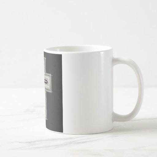 Cross in black and white. coffee mug