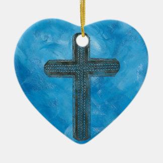 Cross in blue ceramic heart decoration