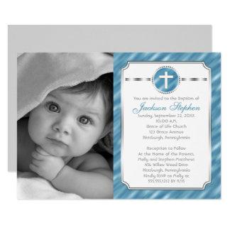 Cross in Circle Blue Boy Photo Baptism Invitation
