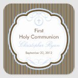 Cross In Frame First Holy Communion Boy Square Stickers