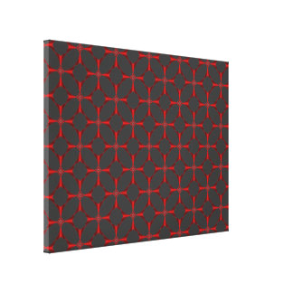 Cross in Red Tiled Canvas Print