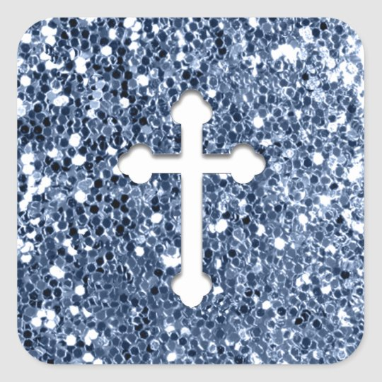 Cross in White on Blue Glitter Look Square