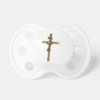 Cross Jesus Christ gold horizontal Baby Pacifier