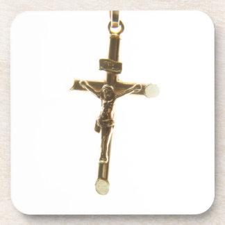 Cross Jesus Christ gold horizontal Beverage Coasters