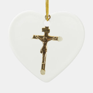 Cross Jesus Christ gold horizontal Ceramic Heart Decoration