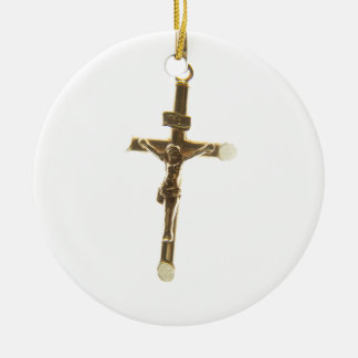 Cross Jesus Christ gold horizontal Christmas Ornament