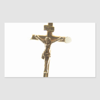 Cross Jesus Christ gold horizontal Rectangular Sticker