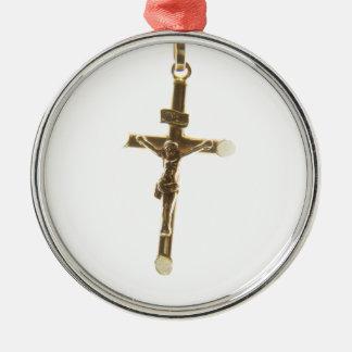 Cross Jesus Christ gold horizontal Silver-Colored Round Decoration
