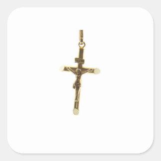 Cross Jesus Christ gold horizontal Square Sticker
