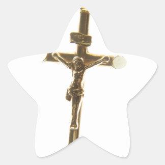 Cross Jesus Christ gold horizontal Star Sticker