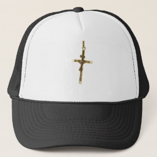 Cross Jesus Christ gold horizontal Trucker Hat