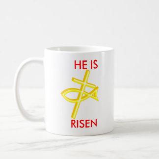 cross, KEEP, CHRIST , IN, CHRISTMAS, HE IS, RISEN Basic White Mug