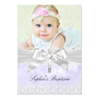 Cross & Lace Bow Purple Photo Baptism Invitation