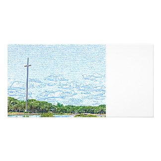 cross landscape sketch st augustine florida custom photo card