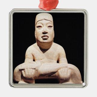 Cross-legged figure holding a baby, Olmec Christmas Ornament