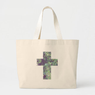 cross made of shiny stars tote bags