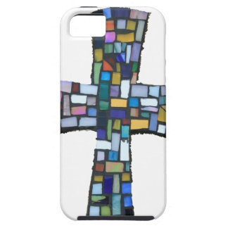 cross mosaic colored red blue green Christian Case For The iPhone 5