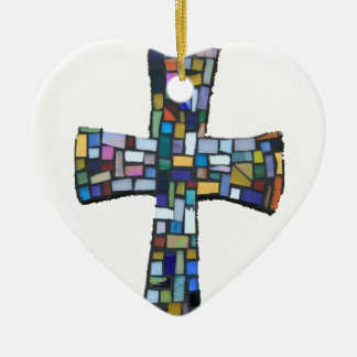 cross mosaic colored red blue green Christian Christmas Ornament