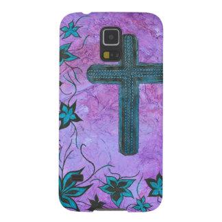 Cross n flowers in blue on purple galaxy s5 cover