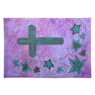 Cross n flowers in blue on purple place mats