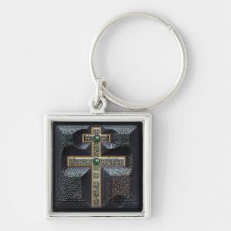cross of lorraine Silver-Colored square key ring