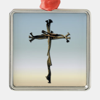 Cross of Nails Jesus Save Rustic Christmas Ornament