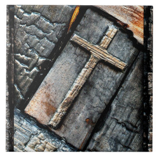 Cross of Protection Large Square Tile