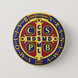 Cross of St. Benedict 6 Cm Round Badge