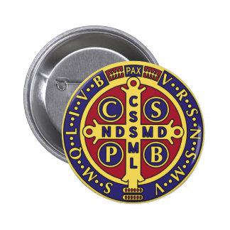Cross of St. Benedict 6 Cm Round Badge
